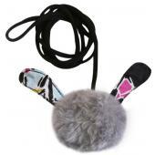 Игрушка для кошек ушастик на эластичном шнуре 8 см иск.мех/текстиль (набор 6 шт)