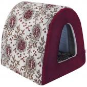 Дом Туннель лен + мебельная ткань (бордовый), 40*34*34 см