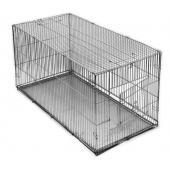 Клетка-переноска для собак с металлическим поддоном, складная, 80см*40см*42см, хром