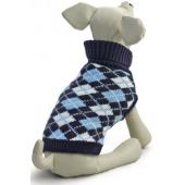 """Свитер """"Классика"""" для собак, акрил, синий с рисунком, XS ( 20 см. )"""