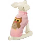 """Свитер """"Сова"""" для собак, акрил, розовый, XS ( 20 см. )"""