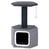 Домик со стойкой и полкой из фетра и сизаля для кошек, черно-серый, 42*35*67 см