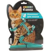 """Шлейка """"Мегаполис"""" с поводком для кошек, капрон, 18-23/150 см"""