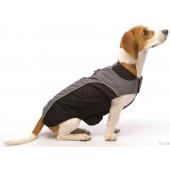 """Куртка демисезонная """"NanoBreaker Jacket"""" для собак, черная с серым, длина спины 50 см"""