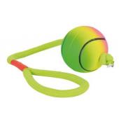 """Игрушка """"Мяч неоновый с веревкой"""" для игры на воде, для собак, мягкая резина (3459), 6*30 см"""