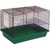 Клетка для грызунов 2-х этажная (120ж) 36х24х27 см. металлические полочки и лесенки