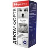 Декта Форте капли для лечения отодектоза, саркоптоза и нотоэдроза собак и кошек, 10 мл