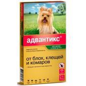 Адвантикс Капли для собак до 4кг от блох, клещей, 1 пипетка 0,4мл