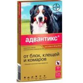 Адвантикс Капли для собак 40-60кг от блох, клещей, 4 пипетки по 6мл
