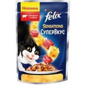 Sensations кусочки в желе для кошек Супервкус Говядина и сыр