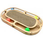 Игрушка для кошек развивающая Стадион с шарикамии и когтеточкой из каната, 49*27*3,6 см