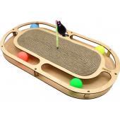 Игрушка для кошек развивающая Стадион с шарикамии, когтеточкой из каната и игрушкой на пружине, 49*27*3,6 см