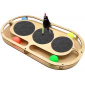 Игрушка для кошек развивающая Стадион с шарикамии, когтеточками и игрушкой на пружине, 49*27*3,6 см