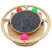 Игрушка для кошек развивающая Круг с шарикамии и когтеточкой ковролин, 32*3,6 см