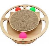 Игрушка для кошек развивающая Круг с шарикамии и когтеточкой из каната, 32*3,6 см