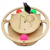 Игрушка для кошек развивающая Круг с шарикамии и игрушкой на пружине, 32*3,6 см