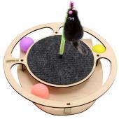 Игрушка для кошек развивающая Круг с шарикамии, когтеточкой и игрушкой на пружине, 32*3,6 см