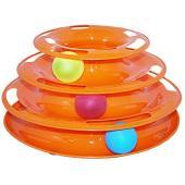 Игрушка для кошек Трэк пластиковый трехэтажный с мячиками 24,5х12см
