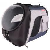 Складная сумка-переноска с окном для собак и кошек до 8 кг, синий-серый (FC1752L-BG)