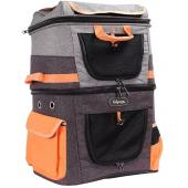 Рюкзак-переноска для собак и кошек до 12 кг серо-оранжевый, 39*29*56см
