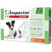 Inspector Quadro Капли на холку для собак 4-10 кг, от клещей, насекомых, глистов