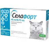 Селафорт Капли на холку от внешних и внутренних паразитов для кошек 2,6-7,5кг, 1 пипетка 0,75мл