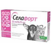Селафорт Капли на холку от внешних и внутренних паразитов для кошек и собак до 2,5 кг, 1 пипетка 0,25 мл
