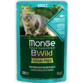 Cat BWild GRAIN FREE паучи из трески с креветками и овощами для взрослых кошек