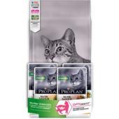 Промо-набор 1,5кг + 4 пауча в подарок Сухой корм для Кастрированных кошек с чувствительным пищеварением, курица (Optidigest  Sterilised)