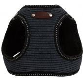 Шлейка для собак вельветовая №1 XXS (обхват груди 18-23см) чёрная