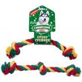 Игрушка для собаки Грейфер, цветная верёвка 3 узла, 34см