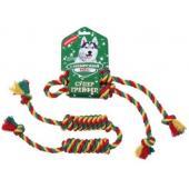 Игрушка для собаки Грейфер Бон-бон, цветная верёвка 2 узла, 45см