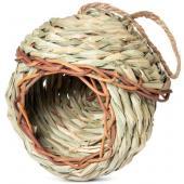 """Гнездо-Домик NATURAL для птиц из луговых трав """"Избушка"""", d13,5x*14,5/26,5см"""