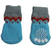 Носки для собак двухцветные с красным узором, размер S (S 006)
