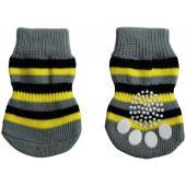 Носки для собак серые в полоску, размер S (S 005)