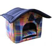 """Мягкий домик """"Будка"""" с подушкой и съемной крышей, синий, мелкая клетка, бязь/оксфорд"""