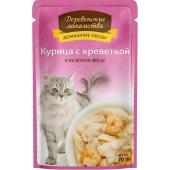 Домашние Обеды консервы для кошек Курица с креветкой в нежном желе
