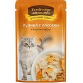 Домашние Обеды консервы для кошек Курица с лососем в нежном желе