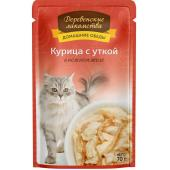 Домашние Обеды консервы для кошек Курица с уткой в нежном желе