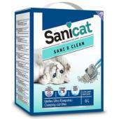 Комкующийся белый наполнитель с ароматом детской присыпки Sani&Clean, 6 л