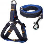 Комплект шлейка 1,5*35-45см и поводок 1,5*120см, джинсовый, синий