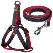 Комплект шлейка 1,5*35-45см и поводок 1,5*120см, джинсовый, красный