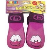 Носки для собак, высокое латексное покрытие, фиолетовые с принтом, разм.0