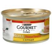 Консервы для кошек нежная начинка Gourmet Gold Курица (Melting Heart)
