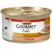 Консервы для кошек нежная начинка Gourmet Gold Лосось (Melting Heart)