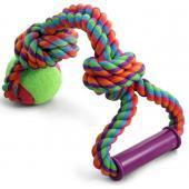 Игрушка для собак. Верёвка цветная с мячом с узлами с резиновой ручкой 46см (0113XJ)