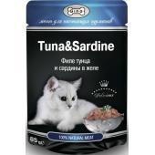 Консервы для кошек тунец и сардины (кусочки в желе)