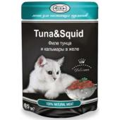 Консервы для кошек тунец и кальмар (кусочки в желе)