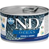 N&D Ocean консервы для собак MINI сельдь с креветками