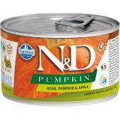N&D Pumpkin консервы для собак MINI кабан с тыквой и яблоком